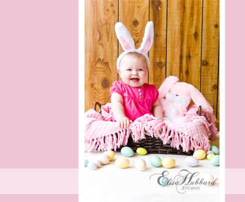 Chloe, 7 Months, Studio, Baby Girl, Easter, Bunny, Baby Photography, Child Photography, Elisa Hubbard Studios