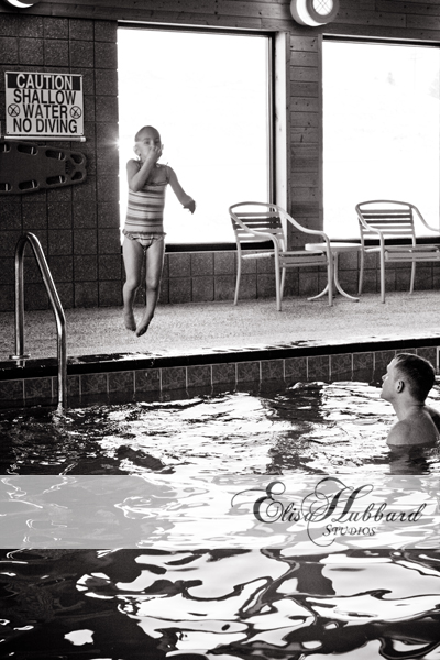Liana jumping in the pool - Child Photography - Elisa Hubbard Studios
