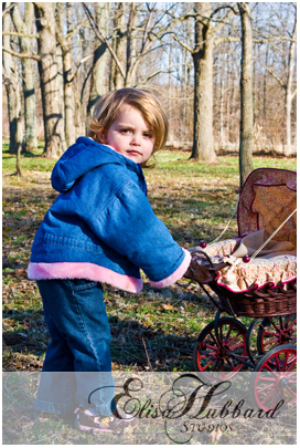 Faith Pushing Baby Carriage - Child Photography - Elisa Hubbard Studios
