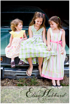Hanna, Savanna, & Faith - Laughing on an old car - Child Photography - Elisa Hubbard Studios