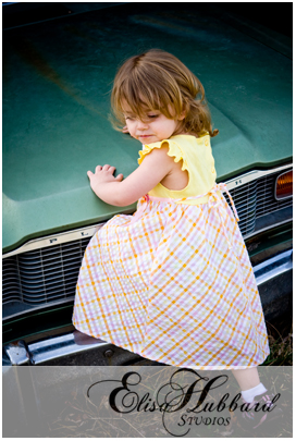 Faith Climbing on the hood of an old car - Child Photography - Elisa Hubbard Studios