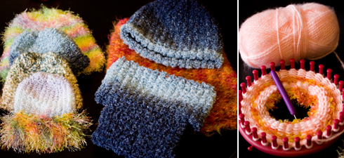 Knifty Knitter - knitted baby hats - knitted photo props - Elisa Hubbard Studios